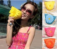 natural straw handmade daizy flower summer beach boho shoulder hand bag clutch