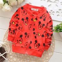 Free shipping 2014 Autumn New children cardigan jacket,Cute Mickey baby boys and girls long-sleeved jacket,kid outwear#KZ495B