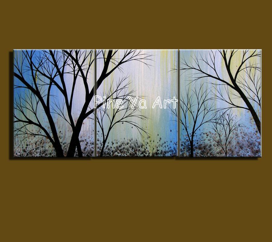 3 Painel Muti abstrato da parede da lona moderna galho de árvore decorativa lona azul pintura a óleo para o quarto decoração sala de estar(China (Mainland))
