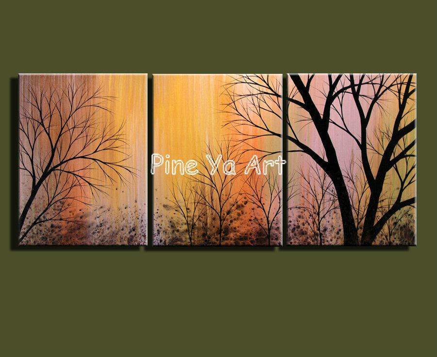 3 Muti pedaço painel da parede da lona moderna decorativa ramo de árvore da lona pintura a óleo para o decoração sala(China (Mainland))