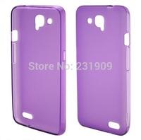 Glossy Gel Flexible Slim Back TPU Soft  Skin Cover Anti-skid Case For Alcatel Idol S OT-6034R Purple,Free Shipping