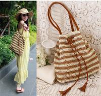sweet women boho beige stripe handmade knitted straw shoulder bag handbag clutch