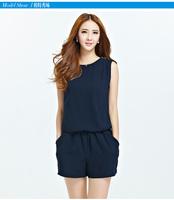 Plus Size XL-5XL Pregnant Women Fashion Blue Sleeveless Chiffon Short Jumpsuit Free Shipping 29966