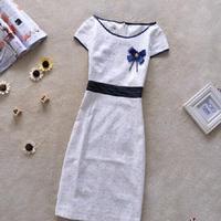 Hot sale High Quality Fashion Women autumn Casual Slim Hip OL Elegant Short-Sleeve Knee-Length winter vintage One-Piece Dress