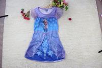 2014 fashion  girls frozen elsa & anna princess dresses children cartoon short sleeve one piece kids summer clothing
