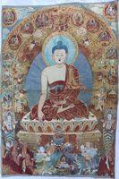the old tibetan tangka handwork silk jingang sitting sakyamuni scroll picture