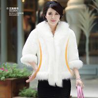 Warm Luxury Fox Fur Collar Overcoats Ladies Imitation Mink Fur Outerwear New Jacket Women's Fur Coat  Plus Size A888