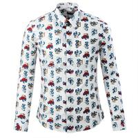 2014 male shirt male long-sleeve shirt slim male fashion casual print floral print shirt