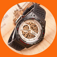 The new 2014 silicone black stainless steel skeleton noble man/man worth having personality fashion mechanical watches.