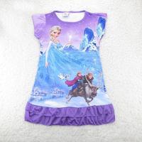 2014 hot sale girls  FROZEN Anna Elsa Princess nightgowns children cartoon short sleeve nightdress kids summer  sleepwear