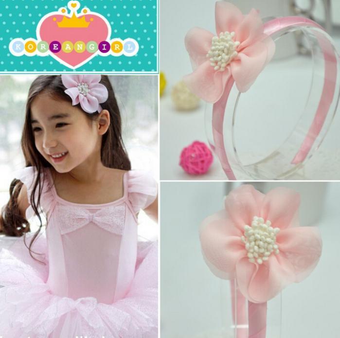 Promotion Korean sweet princess flower children hair hoop baby headband tiaras for girls Kids bows(China (Mainland))