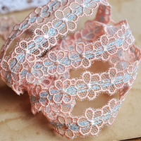 DIY Clothes lace trims 1.3cm pink flower gauze embroidery lace fabric for decoration