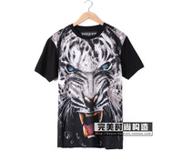 2014 xuebao holdem denim tiger lovers short-sleeve T-shirt  free shipping