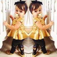 2014 new baby girls fashion suit kids clothing sets shirt dress + legging pants casual short-sleeve shirts  2 pcs/set