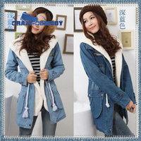 Women Denim Parka winter jacket with fur hooded Winter Coat Denim Long Thick Jeans Warm Overcoat Woman Jean Winter Coat
