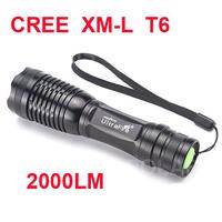 UltraFire E007 CREE XM-L T6 2000Lumens 5 Mode Zoom CREE LED Flashlight Torch light For 3 x AAA or 1 x 18650 +Flashlight Holster