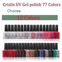 Any 12 Colors Crislish 77 Colors Led Uv Gel Nail Polish Nail Art Builder Gel Varnishes Nail Tools Drop Shipping Wholesale