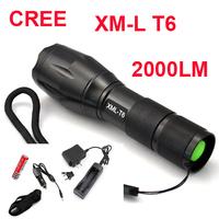 UltraFire E17 CREE XM-L T6 LED 2000Lm led flashlight Torch light lamp+1x18650 Battery charger/car charger/flashlight holster