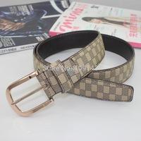 Fashion Classic Plaid Formal Women Belt Men Belt leather Smooth Buckle Male Belt For Men Gold Color Design Brand Freeshipping