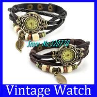 5Pcs! New Lady Women/Men Vintage Leather Electroplating Ancient Bronze Leaves Pendant Dress Watch Bangles Bracelet Wristwatches