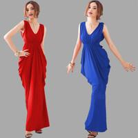 1013 free shipping 2014 summer women new fashion 3 colors v neck sleeveless bandage evening party dress ladies elegant dresses