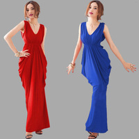 1013 free shipping 2014 summer women new fashion 3 colors v neck sleeveless bandage evening party dress ladies elegant dresses