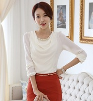 Blusas Spring 2014 Women Clothing Blouses Shirts All-match O-neck Women Shirt Long Sleeve Beading Blouse TS1021