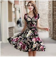 2014 Summer new Korean short-sleeved V-neck dress Bohemian...