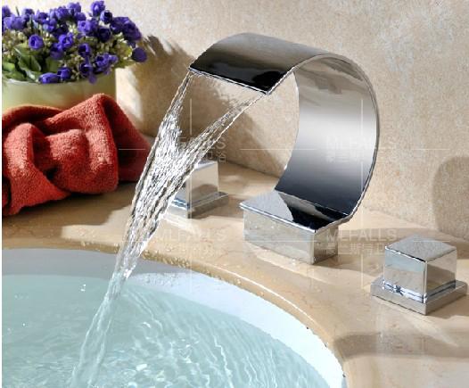 Bathroom Bathtub Faucet Curved Spout Waterfall Mixer Tap Chrome Dual Handles(China (Mainland))