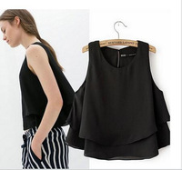 Summer New 2014 Ladies' ZA brand black and white double layers short blouse shirt sleeveless casual loose tops