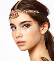 Free shipping!  2014 Fashion vintage colorful fan-shaped charm elastic headband bohemian hair chain hair wear wholesale