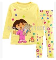 freeshipping Children's Baby pajamas suit sets Dora boys girls Pyjamas suits Kids shirts+ trousers 100% cotton Pajama Sets
