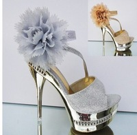 The New Super High Heels Is Fine With The Fish Mouth Ladies Sandals, Thick Bottom Waterproof Lace Flower Sandals 8024