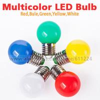 E27 B22 1W 1 Watt  Red Green Blue Yellow White LED Light Bulb Lamps For Bar KTV  Holiday Light 220V-240V