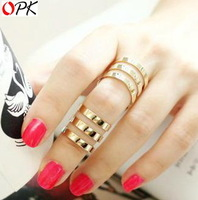 OPK Jewelry Free Box! 3pcs/ set Punk Cool EU Style Channel Hollow Rings Sets for Women New Personality, size adjustable 422