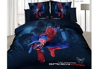 New!4pcs 3d bed set spider-man bedding set cotton cartoon duvet cover bedclothes bed linen queen flat sheet coverlet bedclothes