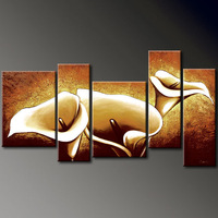 Calla Lily 100% Hand-painted Floral oil paintings Abstract Modern Canvas Wall Art for Home Decoration 5pcs/set quadros No Frame