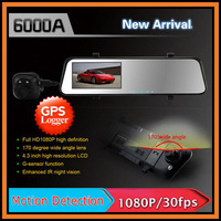 "6000A Car Rearview Mirror Camera Recorder DVR Dual Lens 4.3"" TFT LCD HD 1920x1080P Rear View Camera 720P With GPS G-sensor H.264"