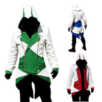 Real Cosplay clothing / apparel assassins creed 3 Connor cos single coat of red and white,