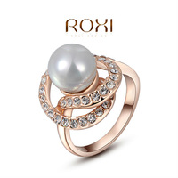 Anel Gem Jewelry Roxi Exquisite Rose-gold Plated Pearls Mosaic Rings,fashion Jewelrys,factory Price,chirstmas Gift,high Quality