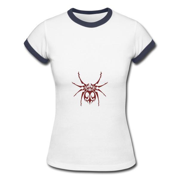 aranha desenho tribal das mulheres vermelho cheapt camisa venda on-line promoção senhora tshirt(China (Mainland))