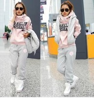 New 2014 autumn winter women sport suits casual long trousers vest sports set sweatshirt piece set thickening free shipping
