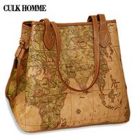 Culk 2014 women's bag map bag women's casual handbag map shoulder bag diario