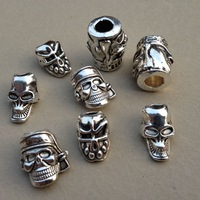 30pcs/lot Vertical Hole Charm Metal Skull Beads For Paracord Knife Lanyard DIY