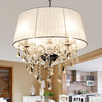 Simple European Style Modern Brief Fabric White Shade Crystal Chandeliers Diameter 50cm 4 Arms E14 Light Source Free Shipping
