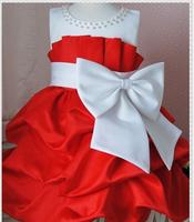 2014 New Arrivals Big Bow Sleeveless Children Girl's Summer Dress,One-Piece Kids Girls Princess Dresses