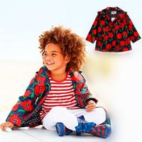 New 2014 UK Brand Girls Trench Coat Designer Floral Fashion Girl's Jackets & Coats Autumn Kids Children Waterproof Outerwear