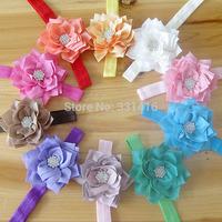 Free Shipping 10pcs/lot 2014 new lotus flower baby girl hairbands with rhinestone kids hair accessories children headbands