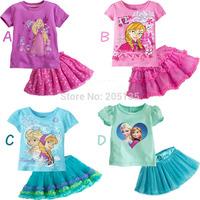 2014 New Summer girls frozen cartoon clothing set t-shirt+skirt kids children cotton princess suit short sleeve casual  t shirt