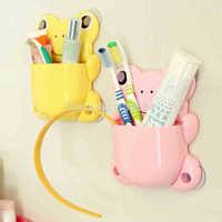 Creative Living Cute frog toothbrush holder Creative vacuum grip device Six tiers of storage Han edition cartoon hanger rack